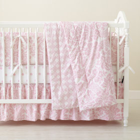 With a Flourish Reversible Crib Skirt (Dk. Pink)