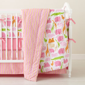 The Morning Zoo Crib Bumper (Pink)