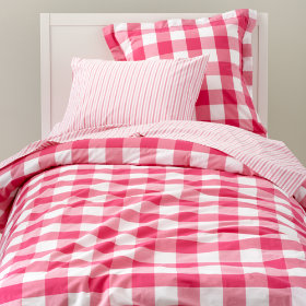 Breezy Gingham Bedding (Hot Pink)