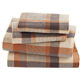Brown Plaid Flannel Sheet Set