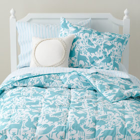 Animáles Grafico Filled Comforter (Teal)
