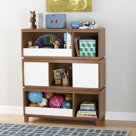 District Storage Bench/Bookcase with Bin