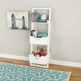 Little Sloane Leaning Bookcase with Bins (White)