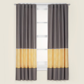 Not a Peep Curtain Panels (Yellow Stripe)
