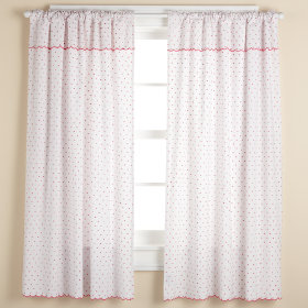 Swiss Dot Curtain Panels (Hot Pink)
