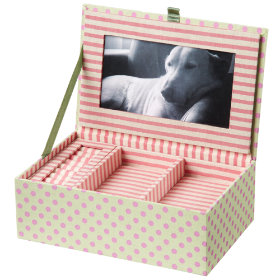 Fantabulous Fabric Jewelry Box (Green w/Pink Dots)