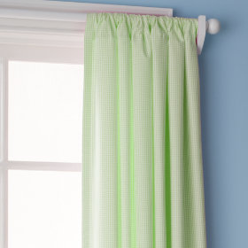 Checks, Please Curtain Panels (Small Gingham, Green))
