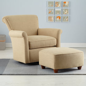 Swivel Glider &amp; Ottoman (Champagne)