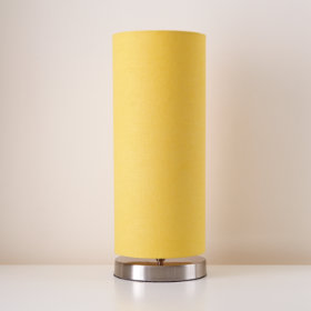 Nickel Pop Up Lamp Base and Yellow Shade