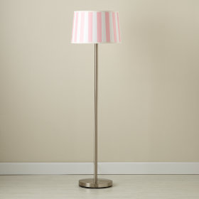 Pink Stripe Floor Shade (Shown with Nickel Base)