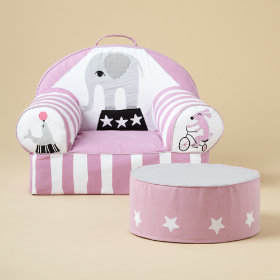 Circus Nod Chair and Ottoman (Pink)