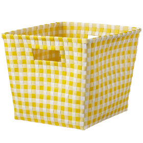 Bring In The Gingham Cube Bin (Yellow)
