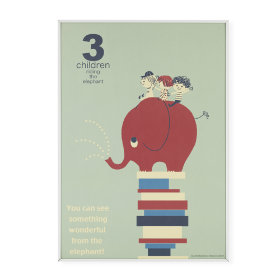3 Children Riding an Elephant Framed Wall Art
