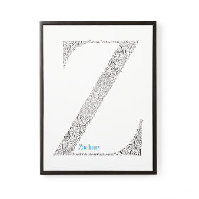 Alphabet Soup Personalized Wall Art (Blue Font w/Black Frame)