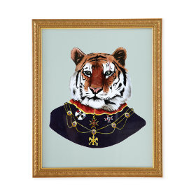 Painted Masterbeasts Framed Wall Art (Tiger)