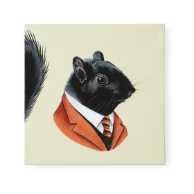 Black Squirrel Canvas Head Portrait
