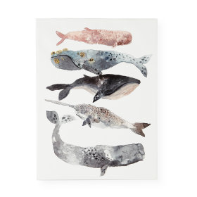 Five Whales Canvas Wall Art