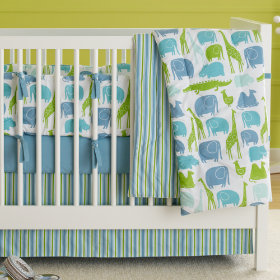 The Morning Zoo Crib Skirt (Blue)