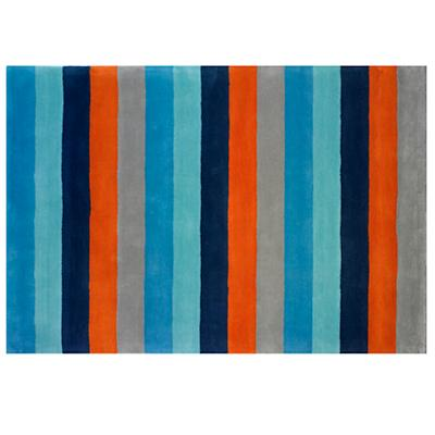 4 x 6' Bold Stripe Rug (Blue-Orange)