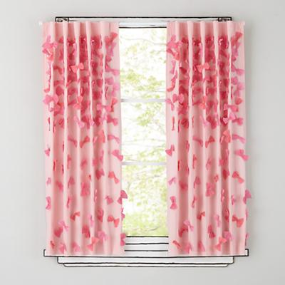 """63"""" Bow Tied Curtain Panel (Pink)"""