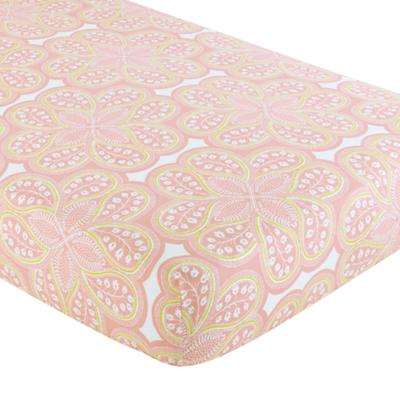 Crib Fitted Sheet (Pink Paisley)