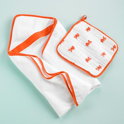 Wash Up Hooded Towel & Washcloth Set (Orange)
