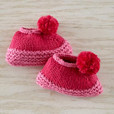 6-12 mos. Pom Pom Hat Booties (Pink)