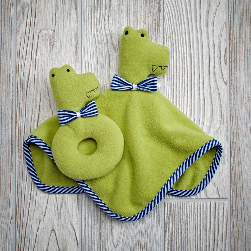 Plush Pair Blanket & Rattle Set (Croc)