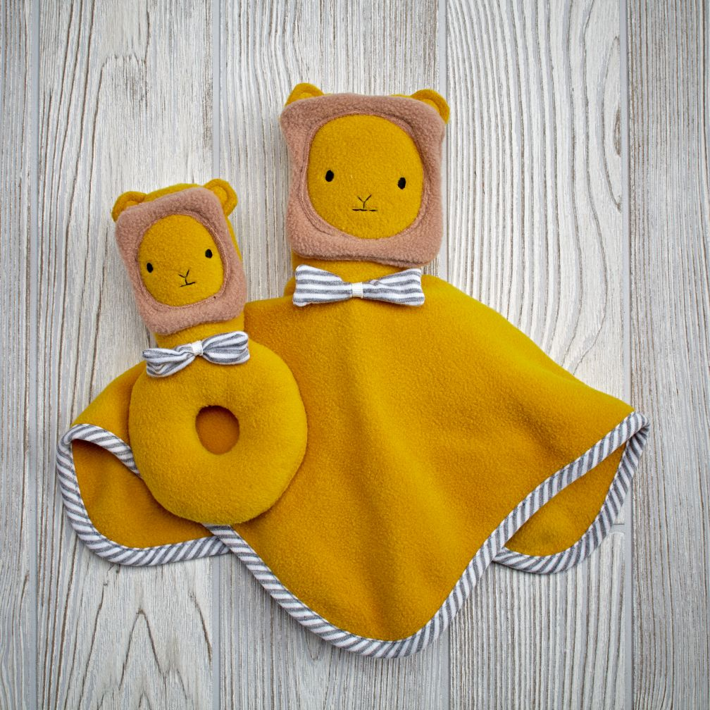 Plush Pair Blanket & Rattle Set (Lion)