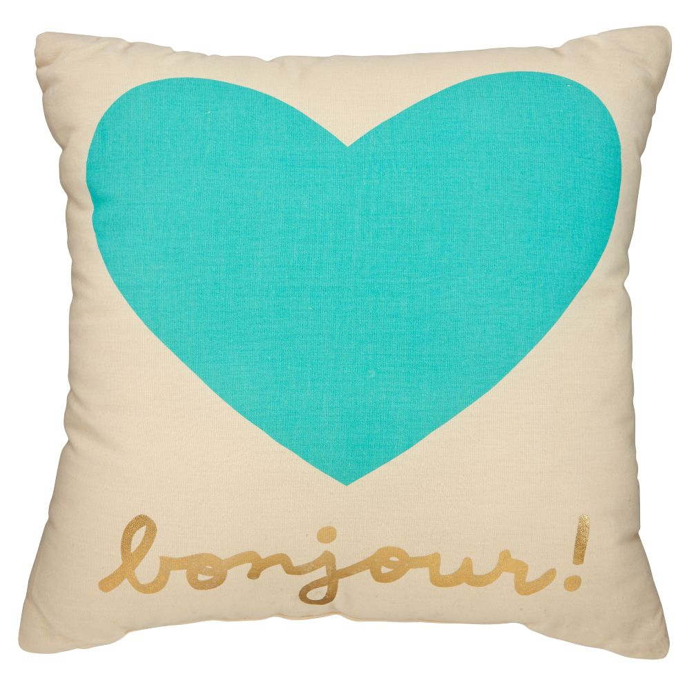 Bonjour Throw Pillow (Mint)