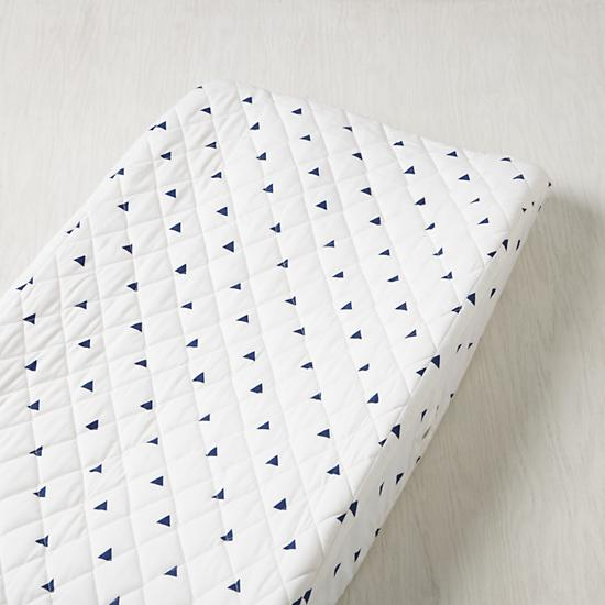 Little Prints Changing Pad Cover Blue Triangle The
