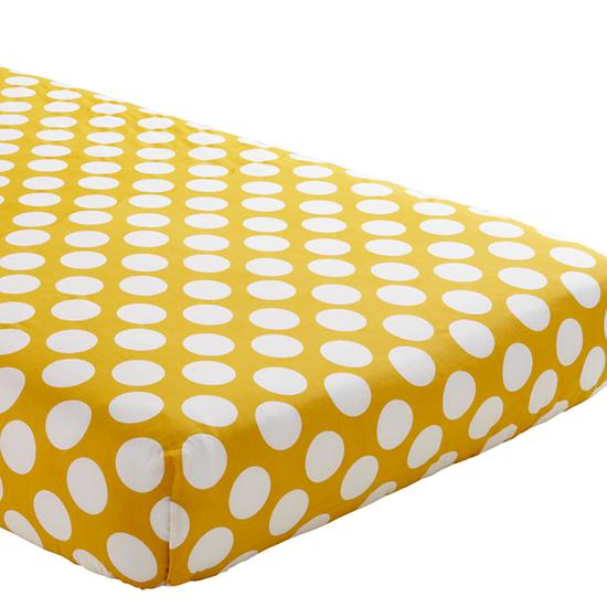 Not A Peep Crib Fitted Sheet Yellow W White Dot The