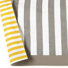Yellow & Grey Stripe Reversible Crib Skirt