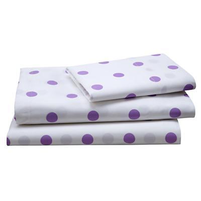 Purple Polka Dot Sheet Set (Twin)