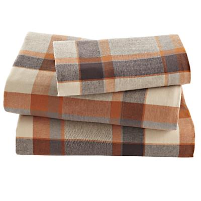 Brown Plaid Flannel Sheet Set (Twin)