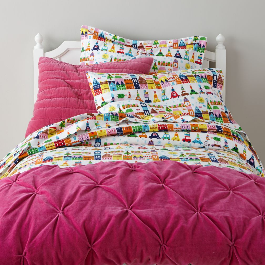 Hit the Town Kids Flannel Duvet Cover