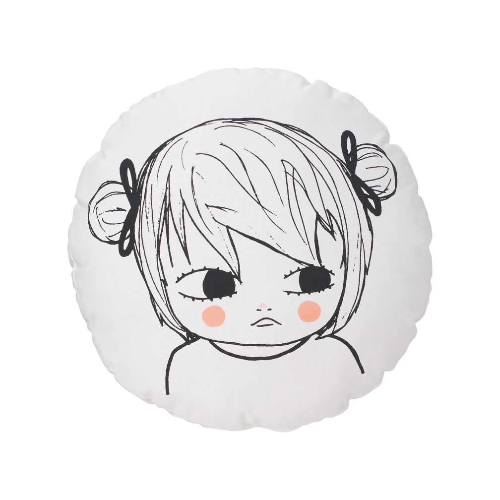 Pigtail Girl Throw Pillow