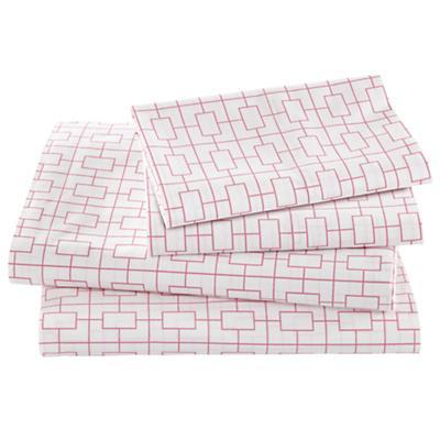 Window Pane Pink Sheet Set (Full)