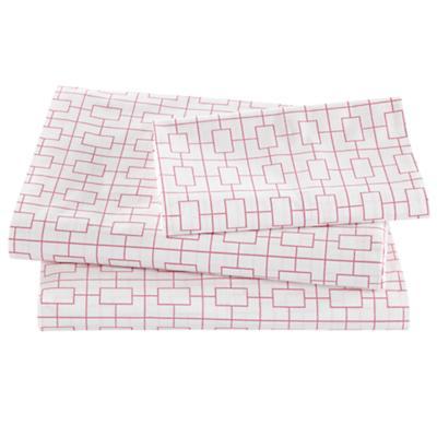 Window Pane Pink Sheet Set (Twin)