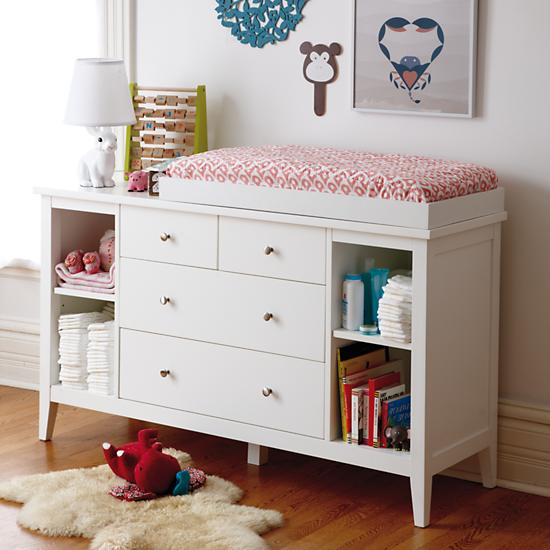 Blake 2 Over 2 Drawer White Changing Table The Land Of Nod