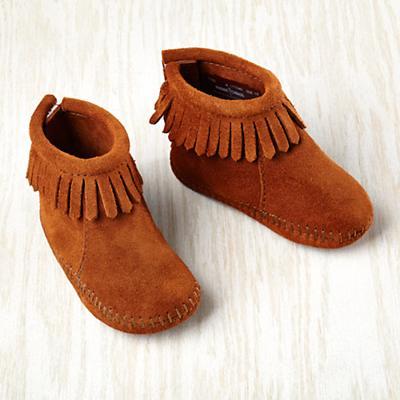 0-3 mos. Minnetonka ® Velcro ® Back Fringe Boot (Brown)