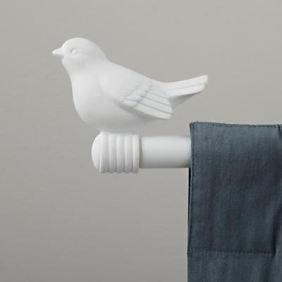 Curtain Accessories: Curtain Rod White Bird Finials | The Land of Nod