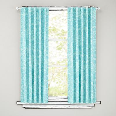 """96"""" Aqua Floral Curtain Panels"""