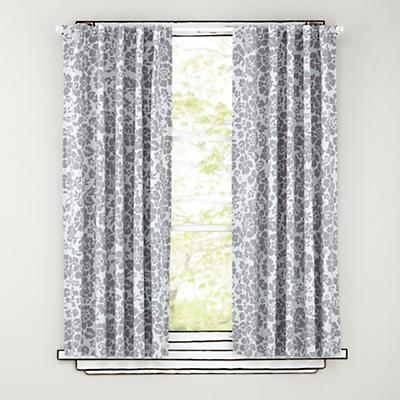 "96"" Grey Floral Curtain Panels"