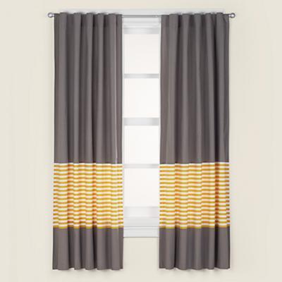 "63"" New School Curtain Panel (Yellow Stripe)"
