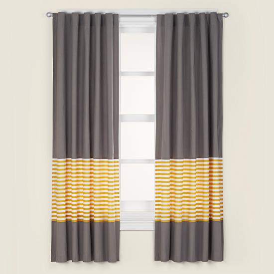 Not A Peep Curtain Panel Yellow Stripe