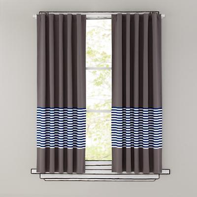 "84"" New School Curtain Panel (Blue Stripe)"