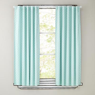 "84"" Aqua Polka Dot Curtain Panels"