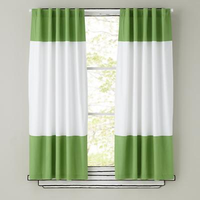 Color Edge Curtain Panels (Green)