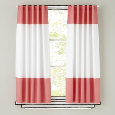 Kids Curtains: Pink and White Curtain Panels | The Land of Nod